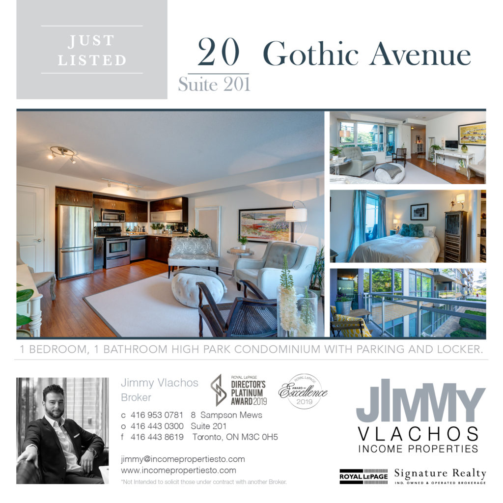 Twenty Gothic is a private, boutique condo development located directly across from High Park. A contemporary building surrounded by mature trees on an intimate residential street minutes from the TTC. Suite 201 is a corner, 1 bedroom suite offering a unique L-Shaped layout with floor to ceiling windows and  a large balcony overlooking the condo grounds and garden.  Ensuite laundry, parking and locker included.   High Park provides 400 Acres of Nature including a river, lake, zoo and a lush grove of Japanese cherry trees.  Building Amenities Include: 24 Hr Concierge, Movie Room, Gym, Party Room, Billiard Room & Guest Suites.   A Status Certificate for 20 Gothic Ave Suite 201 is available for your review.